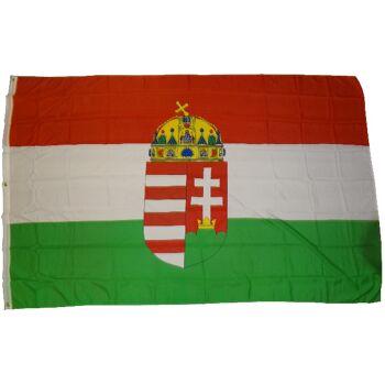 Flagge Ungarn mit Wappen 90 x 150 cm Fahne mit 2 Ösen 100g/m² Stoffgewicht