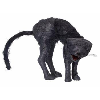 17-62708, Mumien Katze, animiert, 35 cm, mit rot leuchtenden Augen und Sound, mit Bewegungsensor, Halloween Party, Event, Karneval, Fasching, usw
