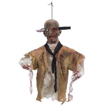 17-62709, Zombie mit Messer im Kopf, animiert, 80 x 50 cm, mit Sound und Bewegung, mit Bewegungsensor, Halloween Party, Event, Karneval, Fasching, usw