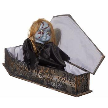 17-62712, Zombiebaby im Sarg 73 cm, animiert, mit rot leuchtenden Augen, Sound und Bewegung, mit Bewegungsensor, Halloween Party, Event, Karneval, Fasching, usw