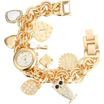 Excellanc 1507 Damenuhr mit Metall Kettenarmband und Accessoires goldfarben