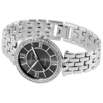 Excellanc 1508 Damen Armbanduhr mit silberfarbenem Metallarmband Strass und anthrazitfarbenem Ziffer