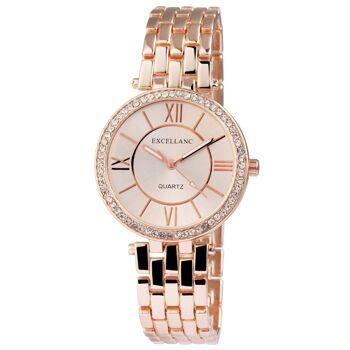Excellanc 1511 Damen Armbanduhr Farbe roségold mit Strass und Metallarmband