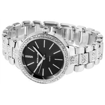 Excellanc 1512 Damen Armbanduhr silberfarben mit Strass und schwarzem Ziffernblatt
