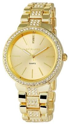 Excellanc 1513 Damen Armbanduhr Farbe gold mit Strass und Metallarmband