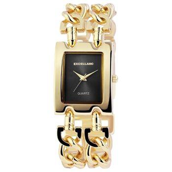 Excellanc 1519 Damen Armbanduhr Farbe gelbgold mit Metall Kettenarmband