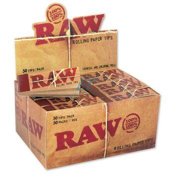 RAW Unbleached Filtertips schmal perforiert 50er Box/50 Tips