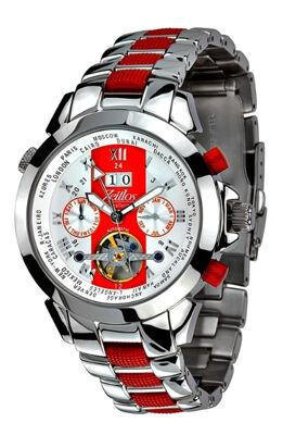 Zeitlos Automatik Uhr ZL-ES-10 R Herrenuhr aus Edelstahl in rot-silberfarben