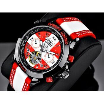 Zeitlos Automatik Uhr ZL-EB-10 PR Herren rot weiß mit Lederarmband made in Swiss