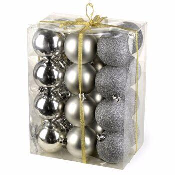28-711280, Weihnachtsbaumkugeln 24er Pack, silbern, Tannenbaum, Baumschmuck, Baumkugeln