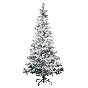 28-906556, Tannenbaum 150 cm, mit Schnee, 400 Zweige, Weihnachtsbaum, mit Weihnachtsbaumständer