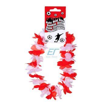 Rot-Weiß Aloha-Stirnband Hawaikette ca.25cm Polyester