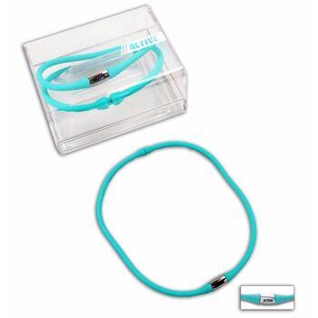 27-43246, Halskette Silikon Farbe türkis in Präsentationsbox  TOP TRENDY