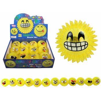 27-44507, Igelball 7,5 cm mit Licht Emoticon, Springball, Flummi