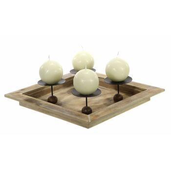 17-72546, Holz Advents Kerzenhalter 32 x 32 cm, Adventskranz, ideal zum selbstgestalten