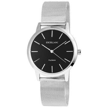 Excellanc 1521 Damen Armbanduhr Farbe silber mit Netzoptik Metallarmband