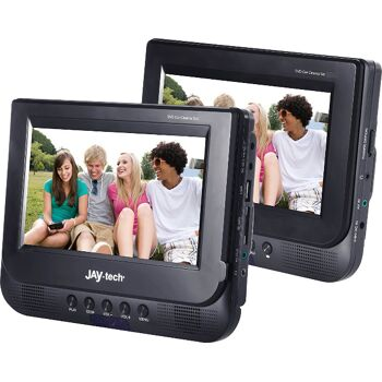 Jay-Tech 728K Kopfstützen Car Cinema Set 2 x 7 Zoll DVD Player + 2 x Bluetooth Kopfhörer