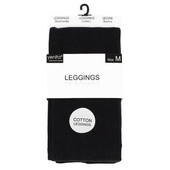 yenita® Damen Baumwoll-Leggings in schwarz