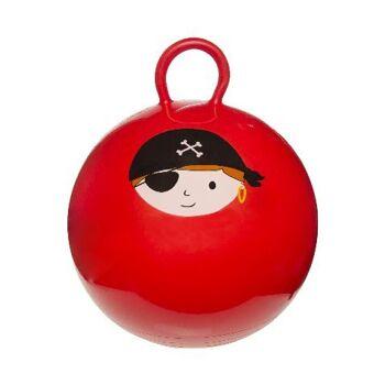 21-4745, Kinderhüpfball 46 cm, Piratenmotiv, Kinder Hüpfball, Springball, macht nicht nur Spass, trainiert auch gleichzeitig