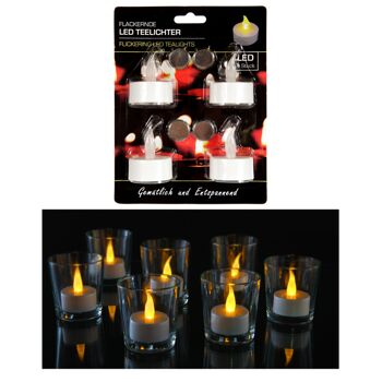 17-41580, LED Teelicht, 4er Set, weiß, Kerze flackert, gemütlich und entspannend