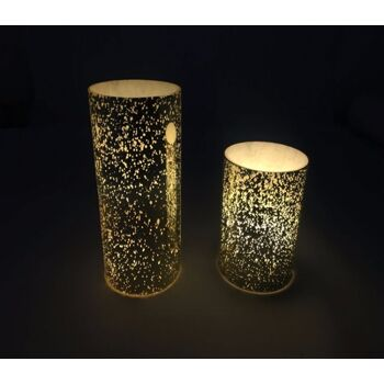 17-72702, LED Echtwachs Kerze in Glas 15 x 7 cm, flackernde gelbe LED