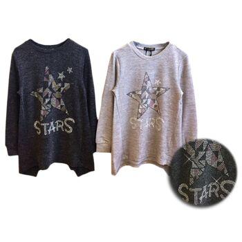 Kinder Mädchen Zipfelsaum Pullover Stern Glitzer Sweatshirt Langarm Kindershirt - 7,90 Euro