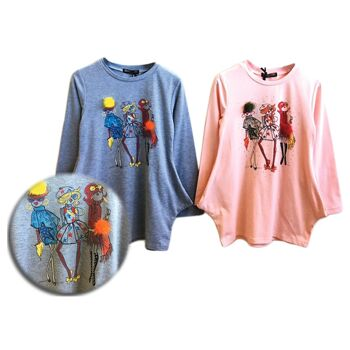 Kinder Mädchen Zipfelsaum Sweatshirt Applikation Shirt Oberteil Langarm Kindershirt - 6,90 Euro