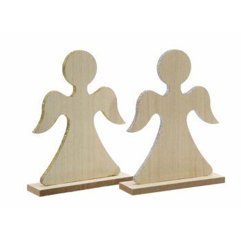 17-43237, Holz Engel mit Glitzerrand 13 cm