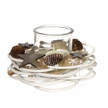 17-62427, Dekokranz 25 cm, mit Windlicht, fein dekoriert mit Juteband, Holzsternen und Tannenzapfen