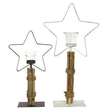 17-62430, Windlicht mit Stern 60 cm hoch, mit Glaseinsatz
