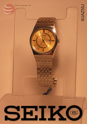 ORIGINAL SEIKO Uhren Vintage - Seiko 5 Gold Dial Automatic --NEUWARE-- 100% RETRO - JAPAN STOCK!