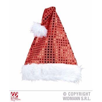 27-02424, Weihnachtsmann Mütze rot mit Glitzer-Pailetten, Nikolausmütze
