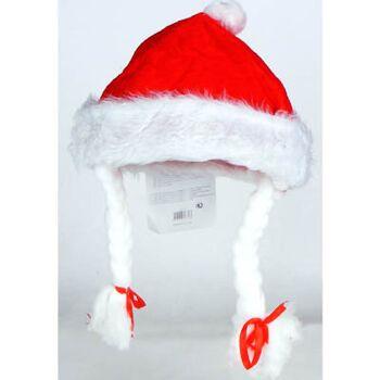 27-41875, Weihnachtsmütze mit Bommel und Zöpfen, Nikolausmütze