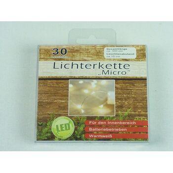12-77017, LED Micro Lichterkette 30 Leuchten, 300 cm lang, Lämpchen Warmweiß Drahtlichterkette Lichterkette