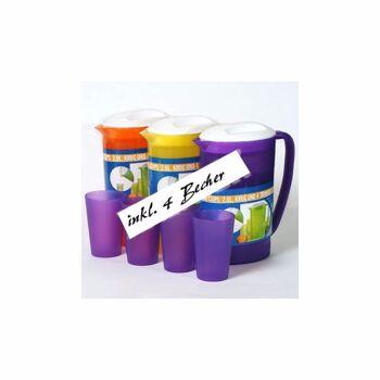 28-877747, Krug 2 Liter mit 4 Bechern, Trinkbecher, Getränkekanne mit Trinkbechern