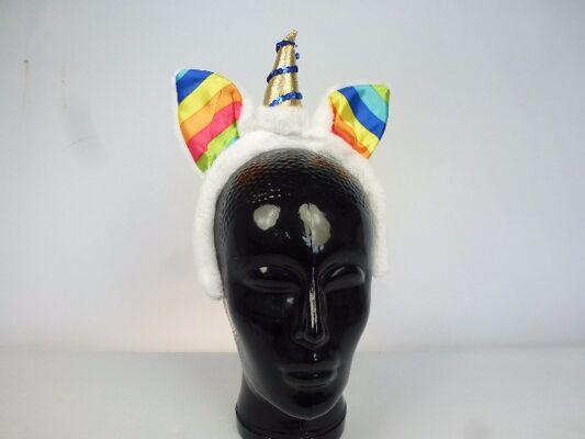 Haarreif Einhorn aus Plüsch, Einhorhaarreifen, Regenbogen, goldenes Horn mit Pailetten, Regenbogen Einhorn