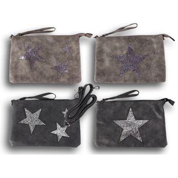 Damen Taschen Stern Glitzer Cut-Out Hochwertiges Lederimitat Umhängetasche - 7,90 Euro