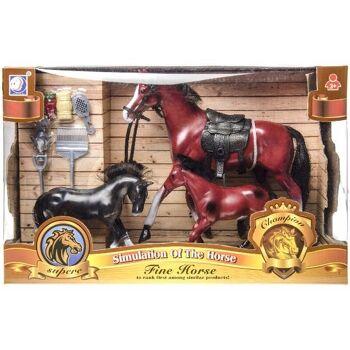 21-0305, Pferdespielset, 3 Pferde mit Zubehör