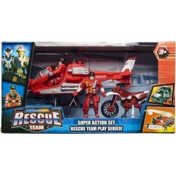 21-2526, Feuerwehr Spielset, 35 cm, mit Auto, Spielfiguren, Motorrad, usw