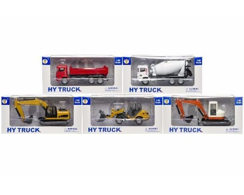 21-3087, Metall Fahrzeuge Baustellenmodelle 20 cm, M 1:60, Bagger, LKW, Betonmischer, Raupe, Baustellenfahrzeuge