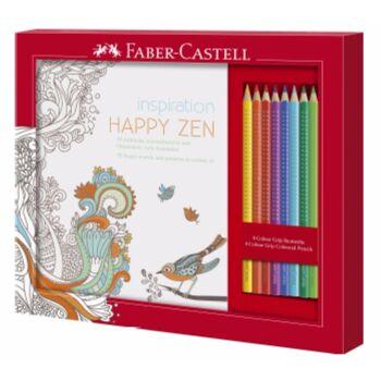 12-201433, FABER CASTELL ANTISTRESS SET, Ausmalset Happy Zen mit 8 Colour GRIP