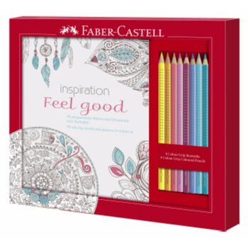 12-201434, FABER CASTELL ANTISTRESS SET, Ausmalset Feel Good mit 8 Colour GRIP Buntstiften