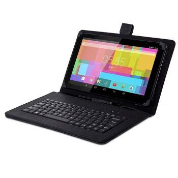 GoClever micro USB Tastatur mit Kunstleder Tasche für 9 und 10 Zoll Tablets Schutztasche Schutzcover Tablettasche Tabletcover Eingabe Tasten Schutz Touchpen Stift Android universal