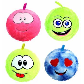 27-71419, Plüsch PVC Ball 50 cm, mit Gesicht, aufblasbar, Spielball, Fussball, Wasserball, Strandball, usw