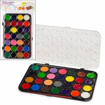 28-158617, Wasserfarben im Farbkasten 28 Farben mit Pinsel, Malkasten, Deckel als Mischpalette nutzbar, Malset+++++++