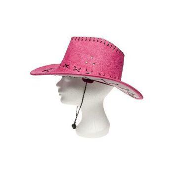 21-9174, Leder Cowboyhut pink, Truckerhut, Westernhut