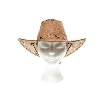 21-9099, Leder Cowboyhut, Truckerhut, Westernhut