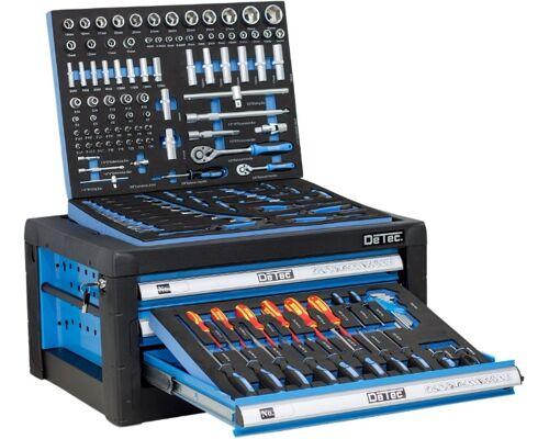 Werkzeugkiste blau  3 Schubladen / 3 gefüllt Werkstatt Kiste Werkzeugbox Werkstattwagen Werkzeugwagen CRV Werkzeug TOP