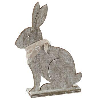 17-43684, Holz Hase mit Halstuch, 25 cm, stehend Osterhase, Dekohase
