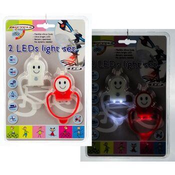 28-726090, LED Licht Fahrradlampensatz 2 LED Smiley, Vorder- und Rückleuchte, auch als zusätzliche Beleuchtung von Personen oder Kindern
